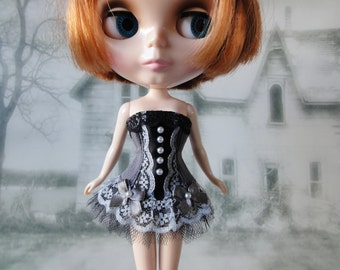 Gothic burlesque grey and black corset hand made fits Blythe doll