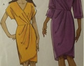 UNCUT and FF Pattern Pieces Vogue 8631 Sizes 6 thru 12 Wrap Dresses
