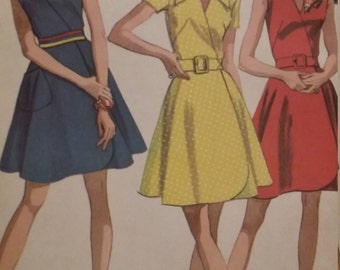 UNCUT and FF Pattern Pieces Vintage McCalls 9635 Sewing Pattern Size 12 Front Wrapped Dress in 3 Versions and Scarf