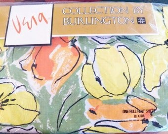 Vintage VERA Newmann Bed Sheet~Full Flat TULIP DREAM~New~Orange/Yellow/Green