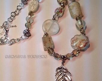 Stunning cream tones lampwork beaded necklace