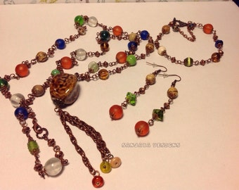 Copper beaded necklace , bracelet and earrings set