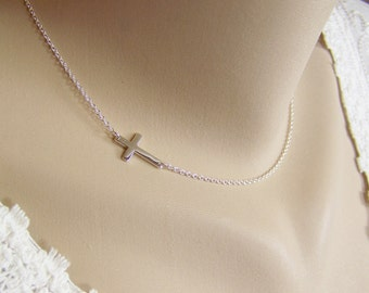 Silver Cross Necklace, Sideways Cross, Sterling Silver Cross, Cross Connector, Crucifix Necklace, Cross, Tiny Cross Necklace, Cross Necklace