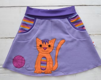 Girl cat skirt,girl kitten skirt,kids fall,girl toddler,girl cat clothing,kids cat clothes,girl kitten clothes,lilac jersey,made to order