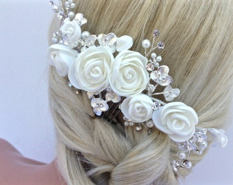 Pearl And Crystal Floral Bridal Hair Comb, Wedding Hair Comb In Ivory, Flower Hair Comb, Bridal Headpiece, Bridal Hairpiece, COLOR CHOICES