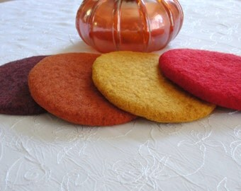 Handmade Wool Felted Coasters in Earth Tone Colors~Felted Coasters~Home and Living Coasters~Wool Coasters