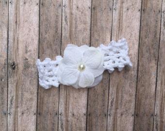 White flower headband, white newborn headband, whote flower, adult flower headband