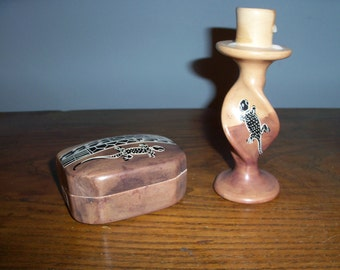 Hand Carved Soapstone Trinket Box and Candle Holder from Kenya Africa