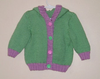 Hand Knitted Hooded Sweater - Baby/Toddler/Child - 12 month - Sage and Blackberry (Mauve) - Girl
