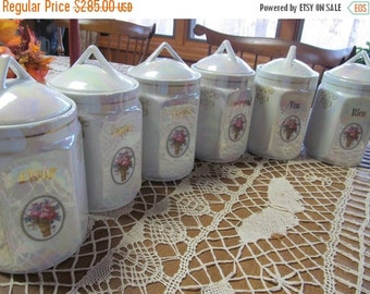 SALE 6 Pearl Lusterware German Canister Set Antique Canister set Floral Bouquet Roses Oatmeal Rice Flour Sugar Coffee Tea Set Germany