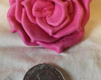 Dark Pink Deerskin Leather Rose Pin