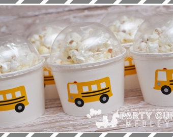 School Bus Birthday Party, Set of 8 or 12 Mini Snack Cups