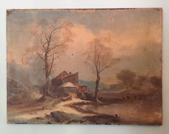 Antique unframed oil painting on canvas old mill gristmill on river landscape wall hanging art rustic shabby cottage chic cabin home decor