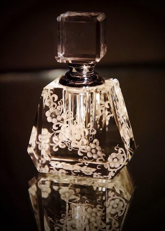 Crystal Mini Perfume Bottle, flowers, bridal, vanity, collectors, perfume bottle