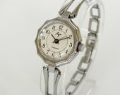 Ornate Case Womens Watch Bracelet Ray. Silver Tone Ladies Mechanical Wristwatch LUCH. Soviet Russian Women,s Watch 17 Jewels