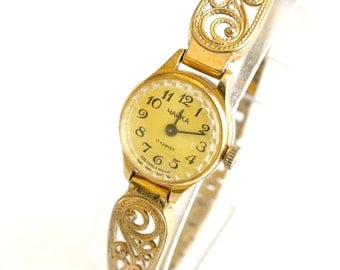 Womens Watch Bracelet. Cocktail Womens Watch Chaika (Seagull). Vintage Ladies Mechanical Watch. Tiny Gold Plated Womens Watch. Gift For Her.