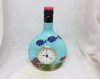 Decorated Wine Bottles - Seascape with Quartz Clock DWSC