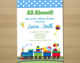 Train Baby Shower Invitation - Digital File (Printing Available)
