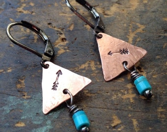 On My Way | TINY Copper Triangle earrings | tiny turquoise | handstamped arrows | copper earrings • hammered triangles • hippie  • boho