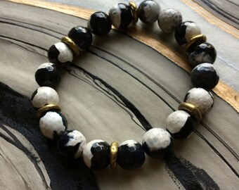 Black and White Fire Agate Stretch Bracelet with African Brass Beads