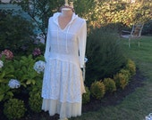Fairytale Tunic Upcycled Woodland Feather Soft Cream Lace Fantasysale was39 now 31.00!