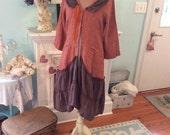 Woodland Linen Upcycled Jacket Rust and Bark Earthy Fantasy