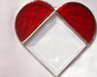 Stained Glass Red Beveled Heart Suncatcher
