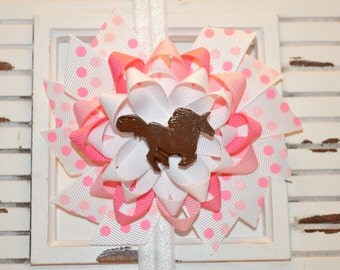 Pink and White Horse Bow