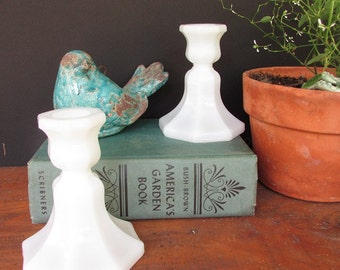 Vintage Candle Holders Milk Glass Candlestick Holders One Pair