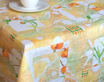 Fall tablecloth rectangle semi sheer lightweight rustic natural linen table cloth in pastel colors