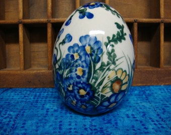 Hand Painted Ceramic Egg Blue Floral