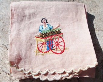 Vintage Peach Needlework Linen Towel Street Pinapple Vendor with Large Mustache
