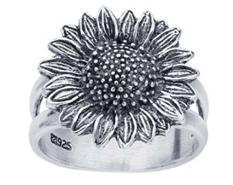 Silver Oxidized Sunflower Ring