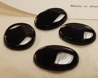 12 Vintage West German Glass Jet Black 18x13mm. Oval Beveled Edge Cabochons 4545