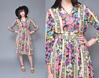 70s Hippie Dress Cotton Gauze Dress M L Neon Pink Purple FLORAL Printed High Waist Boho FESTIVAL Collared Long Sleeve Midi Dress