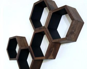 Wood Floating Shelves - Honeycomb Cubby Shelves - Modern Geometric Hexagon Shelves - Wood Floating Shelves - Set of 5 Medium Size