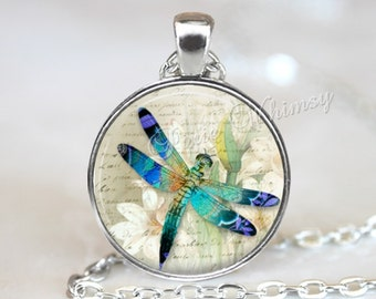 DRAGONFLY Necklace, Dragonfly Pendant, Dragonfly Keychain, Dragonfly Jewelry, Insect Necklace, Insect Pendant, Narcissus Flower, Blue, Aqua
