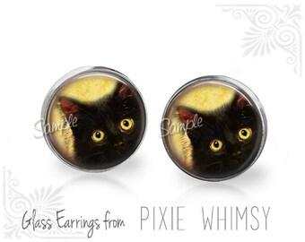 CAT Earrings, Black Cat Earrings, Cat Jewelry, Cat Stud Earrings, Cat Post Earrings, Stud Earrings, Post Earrings, Pierced Earrings, Cat