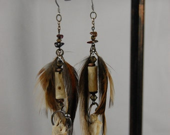 Tribal style real bone and feather earrings