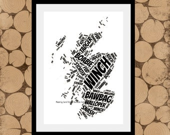 Rude Map Of Scotland, Alternative Map of Scotland, Adult Themed Map, Alternative Gift, Rude Words Of Scotland, Map Of Scotland.