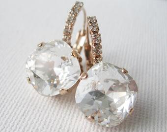 Rose Gold Crystal Drop Earrings Wedding Bridal Bridesmaid Earrings Swarovski Elements Vintage Style Old Hollywood Glam