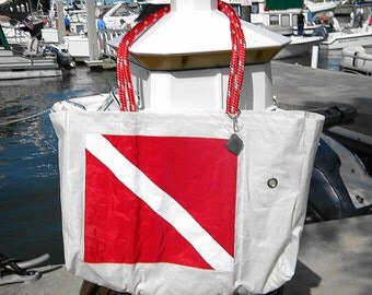 XLG sail bag Diver Down Flag from recycled sail cloth