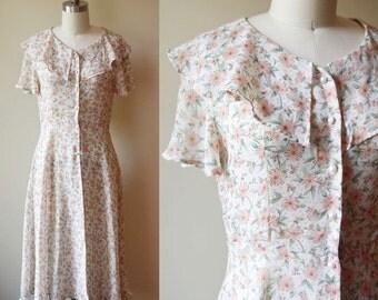1980s Sheer Floral Maxi Dress // Blossom // vintage dress