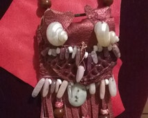 Red Fringed Leather Amulet bag,#044, hand-beaded gems, shells,solar druzy,medicine bag,purse necklace,resort wear,native american inspired