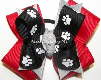 Bulldogs Bow, Paw Print Cheer Bow, Georgia Dawgs Red Black Gray Ponytail Bows, Football Cheerleader Volleyball Softball Soccer School Bulk