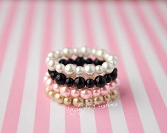 Set of four baby bracelets, baby bracelet, pearl baby bracelet, pink and black, white and gold, pink and gold bracelet, baby jewelry