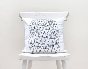 Multi Triangles- Hand Screen Printed Pillow Cover - by Mileseed