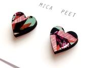 Heart Sud Earrings - Love Heart Earrings Love Heart Jewellery laser cut Wooden Hearts