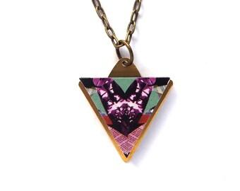 Minimal Triangle Geometric Necklace - Minimal Jewellery Patterned Laser Cut Wood Geometric Jewellery Triangle Jewellery