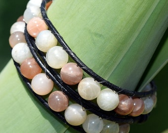Double Strand, Moonstone, Leather Wrapped Bracelet, Leather Bracelet, Bead Bracelet, Wrap Bracelet, Semi-precious Stone, Jewelry